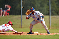 Seton Hall Pirates first baseman Mikael-Ali Mogues (50) waits for a pickoff attempt throw as Colby Stratten (36) dives back to the bag during a game against the Indiana Hoosiers on March 5, 2016 at North Charlotte Regional Park in Port Charlotte, Florida.  Seton Hall defeated Indiana 6-4.  (Mike Janes/Four Seam Images)
