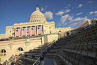 Preparations are underway for Barack Obama's Inauguration ceremony, including the construction of risers, on the steps of the U.S. Capitol in Washington, DC on January 15, 2009.