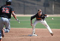 (Photo by John Valenzuela, Freelance)<br /> <br /> #7 Reid Gibbs. The Occidental College baseball team defeats Caltech to claim the SCIAC Championships on Sunday, May 1, 2016 at Oxy's Anderson Field.<br /> <br /> (Photo by John Valenzuela, Freelance)