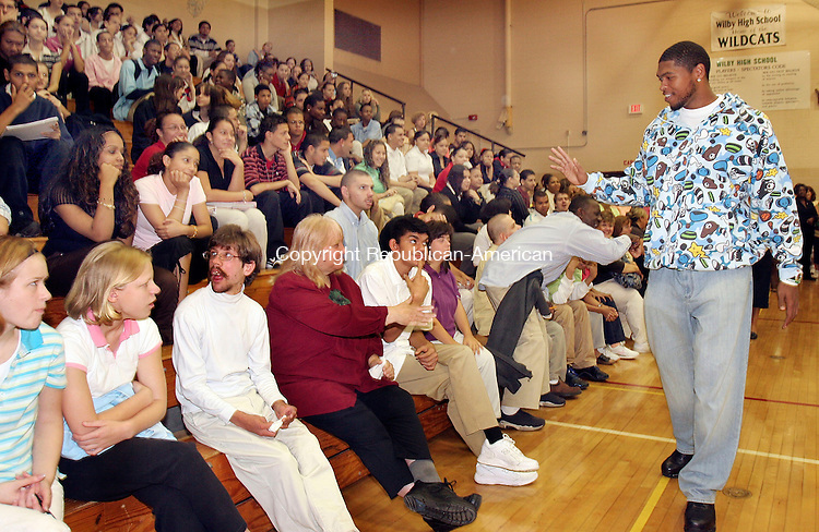 WATERBURY, CT-15September 2006-091506TK01- Ryan Gomes, an NBA basketball player for the Boston Celtics and a graduating member of the Wilby Class of 2000, returned to Wilby High School Friday to address students on the importance of school education, faithful attendance to classes and resolving to be on time for school. Ryan also expressed an interest in starting up an after school program to help Wilby students improve their CAPT and SAT scores.  Tom Kabelka Republican-American (Ryan Gomes, Wilby High School)