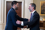 King Felipe VI of Spain receive in royal audience to Felipe Reyes of Real Madrid Basketball Team, new champions of Turkish Airlines Euroleague 2017-2018 at Zarzuela Palace in Madrid, Spain. May 23, 2018. (ALTERPHOTOS/Borja B.Hojas)