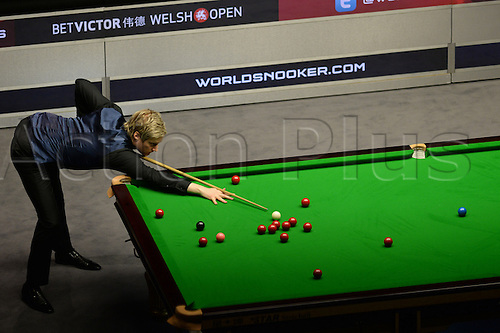 21.02.2016. Cardiff Arena, Cardiff, Wales. Bet Victor Welsh Open Snooker. Ronnie O'Sullivan versus Neil Robertson. Neil Robertson at the table.