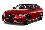 2017 Jaguar XF R-Sport 4 Door Sedan Angular Front stock photos of front three quarter view