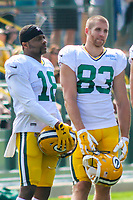 Green Bay Packers wide receiver Randall Cobb (18) and wide receiver Jordy Nelson (83) during a training camp practice on August 29, 2017 at Ray Nitschke Field in Green Bay, Wisconsin.   (Brad Krause/Krause Sports Photography)