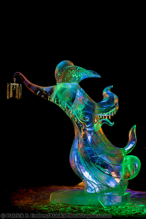 Wind Chimes, by Vladimir Zhikhartsev, Vitaly Lednev. 2007 World Ice Art Championships, Single block sculpture, first place abstract