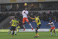 Blackpool's Nathan Delfouneso gets a header on goal<br /> <br /> Photographer Mick Walker/CameraSport<br /> <br /> The EFL Sky Bet League One - Oxford United v Blackpool - Saturday 6th January 2018 - Kassam Stadium - Oxford<br /> <br /> World Copyright &copy; 2018 CameraSport. All rights reserved. 43 Linden Ave. Countesthorpe. Leicester. England. LE8 5PG - Tel: +44 (0) 116 277 4147 - admin@camerasport.com - www.camerasport.com