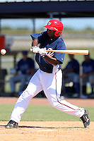 Washington Nationals outfielder Brian Goodwin #13 during an Instructional League game against the national team from Italy at Carl Barger Training Complex on September 28, 2011 in Viera, Florida.  (Mike Janes/Four Seam Images)