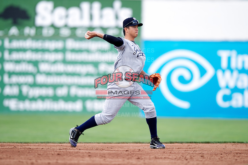 Staten Island Yankees Fu-Lin Kuo #61 during a game against the Batavia Muckdogs at Dwyer Stadium on July 29, 2012 in Batavia, New York.  Batavia defeated Staten Island 10-2.  (Mike Janes/Four Seam Images)