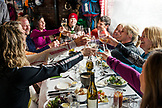 USA, Colorado, Aspen, skiers have lunch and wine at the Cloud Nine Restaurant, Aspen Highlands Ski Resort