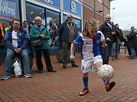 A young Blackburn Rovers fan shows off her keep puppy skills in  the fan zone <br /> <br /> Photographer Stephen White/CameraSport<br /> <br /> The EFL Sky Bet Championship - Blackburn Rovers v Bristol City - Monday 17th April 2017 - Ewood Park - Blackburn<br /> <br /> World Copyright &copy; 2017 CameraSport. All rights reserved. 43 Linden Ave. Countesthorpe. Leicester. England. LE8 5PG - Tel: +44 (0) 116 277 4147 - admin@camerasport.com - www.camerasport.com