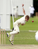Will Brookes bowls for Highgate during the Middlesex County Cricket League Division Three game between Highgate and North London at Park Road, Crouch End on Sat July 12, 2014