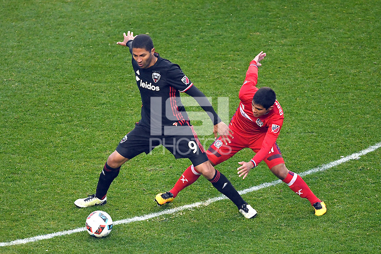 Bridgview, IL. - April 30, 2016: D.C. United tied the Chicago Fire by the score of 1-1 in a Major League Soccer game at Toyota Park.