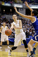 Penn's Camryn Buhr (34) passes into the post during the IHSAA Class 4A Girls Basketball State Championship Game on Saturday, Feb. 27, 2016, at Bankers Life Fieldhouse in Indianapolis.