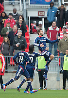 21 April 2012: Chicago Fire defender Gonzalo Segares #13 celebrates his goal during a game between the Chicago Fire and Toronto FC at BMO Field in Toronto..The Chicago Fire won 3-2....