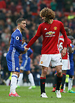 Eden Hazard of Chelsea and Marouane Fellaini of Manchester United shake hands during the English Premier League match at Old Trafford Stadium, Manchester. Picture date: April 16th 2017. Pic credit should read: Simon Bellis/Sportimage