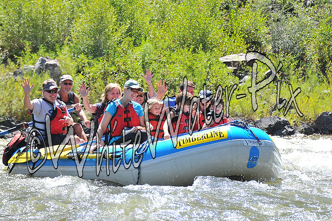 Timberline Tours Rafters crashing Cable Rapid while floating the Upper Colorado River from Rancho to State Bridge, August 19, 2013, Morning Trip, AM, Bond, Colorado - WhiteWater-Pix | River Adventure Photography - by MADOGRAPHER Doug Mayhew