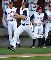 Virginia Matt Thaiss (21) runs to home base during the second inning against George Washington during the game Wednesday at Davenport Stadium in Charlottesville, VA. Photo/The Daily Progress/Andrew Shurtleff