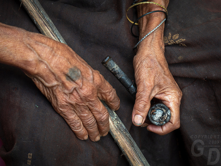 A 89 year old minority women from the Thet Tribe in the Sinshasite Village, Mrauk U, Rakine State, Myanmar