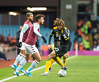 30th October 2019; Villa Park, Birmingham, Midlands, England; English Football League Cup, Carabao Cup, Aston Villa versus Wolverhampton Wanderers; Mahmoud Trezeguet of Aston Villa looking for a pass getting away from Dion Sanderson of Wolverhampton Wanderers  - Strictly Editorial Use Only. No use with unauthorized audio, video, data, fixture lists, club/league logos or 'live' services. Online in-match use limited to 120 images, no video emulation. No use in betting, games or single club/league/player publications