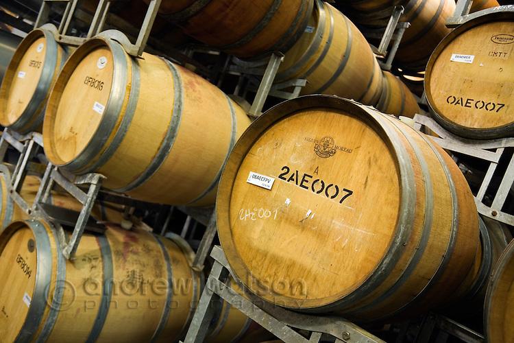 Oak wine barrels in the renowned wine region of Margaret River, Western Australia, AUSTRALIA.