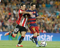 FC Barcelona's Leo Messi (r) and Athletic de Bilbao's Aritz Aduriz during Supercup of Spain 2nd match.August 17,2015. (ALTERPHOTOS/Acero)