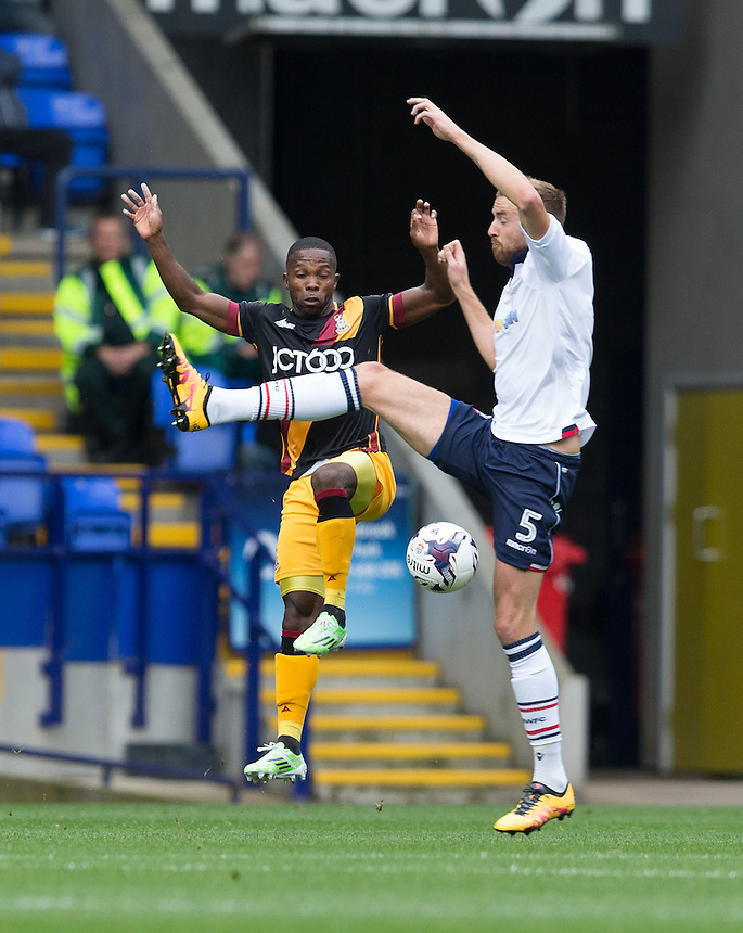 Bolton Wanderers' Mark Beevers battles for possession<br /> <br /> Photographer James Williamson/CameraSport<br /> <br /> The EFL Sky Bet League One - Saturday 24th September 2016 - Bolton Wanderers v Bradford City - Macron Stadium - Bolton<br /> <br /> World Copyright &copy; 2016 CameraSport. All rights reserved. 43 Linden Ave. Countesthorpe. Leicester. England. LE8 5PG - Tel: +44 (0) 116 277 4147 - admin@camerasport.com - www.camerasport.com