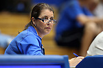 26 October 2014: Duke head coach Joanne P. McCallie watches from press row. The Duke University Blue Devils held their annual Blue-White Game at Cameron Indoor Stadium in Durham, North Carolina in preparation of the upcoming 2014-15 NCAA Division I Women's Basketball season.