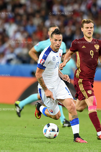 Marek Hamsik (Slovakia) Aleksandr Kokorin (Russia) ; <br /> June 15, 2016 - Football : Uefa Euro France 2016, Group B, Russia 1-2 Slovakia at Stade Pierre Mauroy, Lille Metropole, France.; ;(Photo by aicfoto/AFLO)