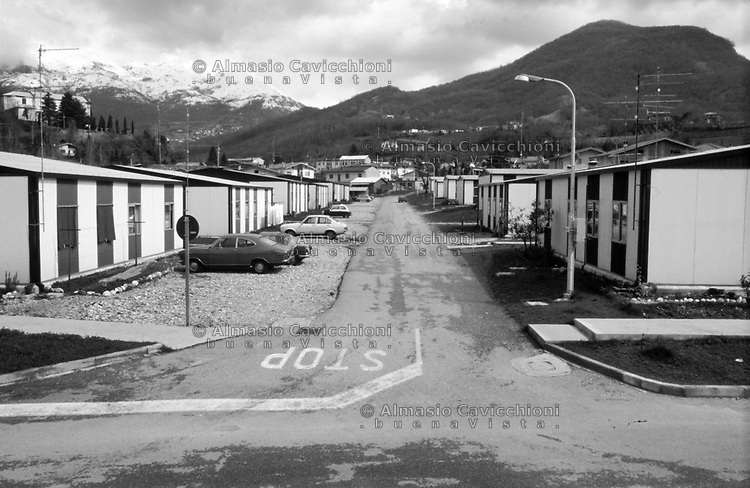 Artegna, 1979, Ricostruzione dopo il terremoto del Friuli del Maggio 1976. Case prefabbricate.<br /> Artegna, 1979, Reconstruction after the earthquake of Friuli of May 1976. Prefabricated houses.