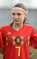 20180314 - TUBIZE , BELGIUM : Belgian Perrine Balant pictured during the friendly female soccer match between Women under 15 teams of  Belgium and Gemany , in Tubize , Belgium . Wednesday 14 th March 2018 . PHOTO SPORTPIX.BE / DIRK VUYLSTEKE