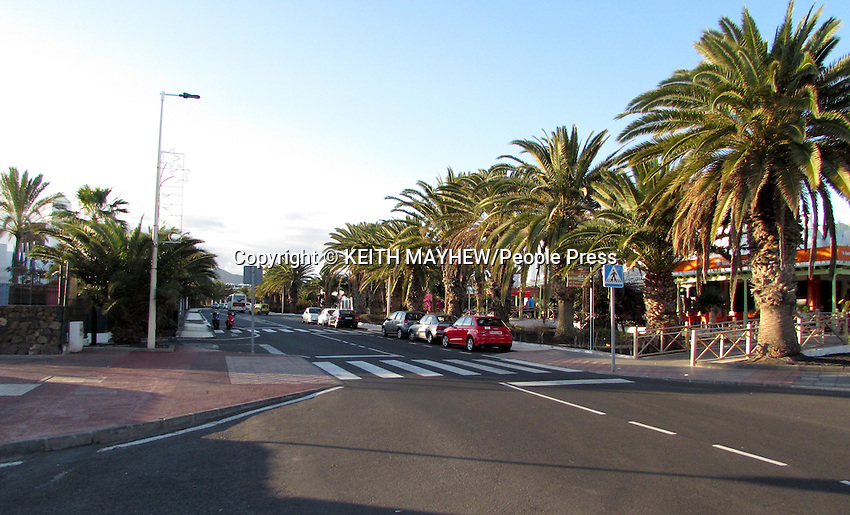 LANZAROTE, CANARY ISLANDS -  Palm Line Streets in the beach resort of Costa Teguise during January 2016 in Lanzarote, Canary Islands<br /> <br /> Photo by Keith Mayhew