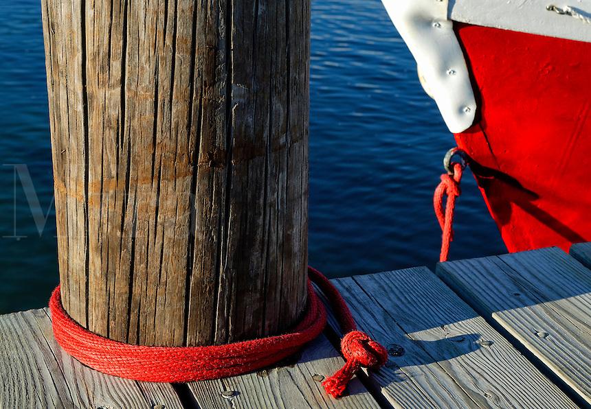 Boat tied to a dock, Vineyard Haven, Martha's Vineyard, Massachusetts, USA