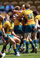 Tryscorer Kenneth Robertson celebrates after the final whistle during the International rugby match between New Zealand Secondary Schools and Suncorp Australia Secondary Schools at Yarrows Stadium, New Plymouth, New Zealand on Friday, 10 October 2008. Photo: Dave Lintott / lintottphoto.co.nz