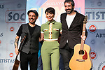 Singer Soraya Arnelas (c) and two guitarist during the presentation of her new single 'Gimme tu love'. January 09 2020. (Alterphotos/Francis Gonzalez)
