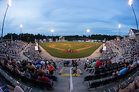The Kannapolis Intimidators played host to the Lakewood BlueClaws in front of 4,105 fans at CMC-Northeast Stadium on May 16, 2015 in Kannapolis, North Carolina.  The BlueClaws defeated the Intimidators 9-7.  (Brian Westerholt/Four Seam Images)