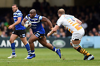 Beno Obano of Bath Rugby goes on the attack. Gallagher Premiership match, between Bath Rugby and Wasps on May 5, 2019 at the Recreation Ground in Bath, England. Photo by: Patrick Khachfe / Onside Images