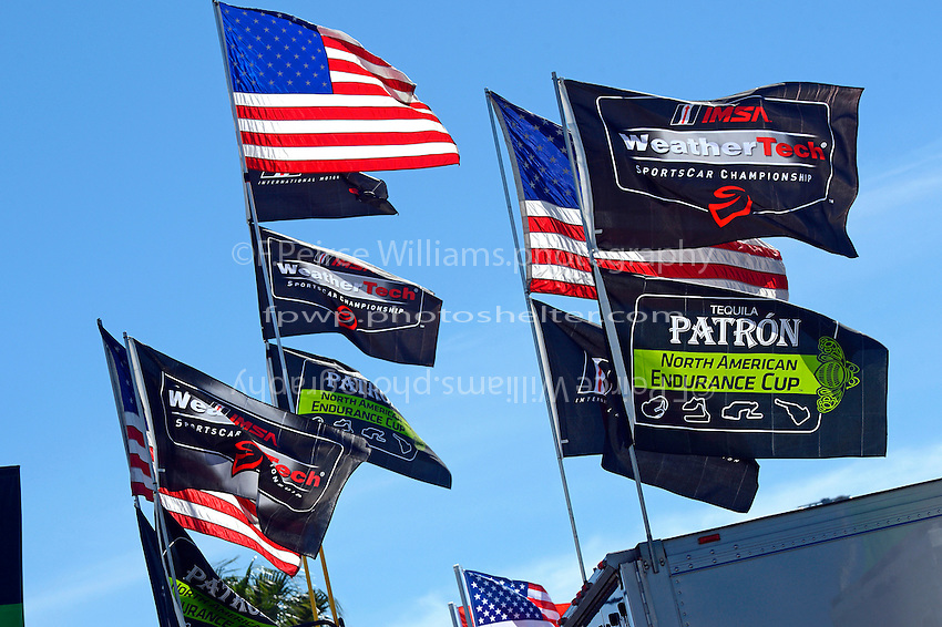 28-31 January, 2016, Daytona Beach, Florida USA<br /> American, WeatherTech and Patron flags in the paddock.<br /> &copy;2016, F. Peirce Williams