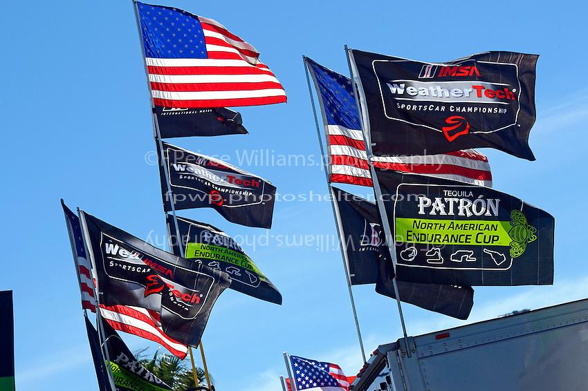 28-31 January, 2016, Daytona Beach, Florida USA<br /> American, WeatherTech and Patron flags in the paddock.<br /> &copy;2016, F. Peirce Williams