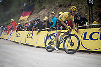 yellow jersey / GC leader Julian Alaphilippe (FRA/Deceuninck - Quick-Step) up the gravel section in the final stretch to the finish line up La Planche des Belles Filles<br /> <br /> Stage 6: Mulhouse to La Planche des Belles Filles (157km)<br /> 106th Tour de France 2019 (2.UWT)<br /> <br /> ©kramon
