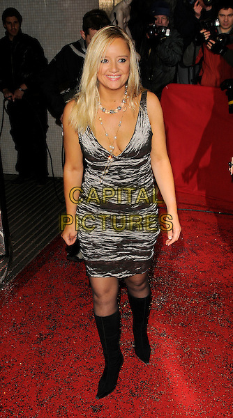 LUCY DAVIS .The British Comedy Awards, London Television Studios, Upper Ground, London, England, 6th December 2008..full length Silver shiny dress back knee high boots  necklace .CAP/CAN.©Can Nguyen/Capital Pictures