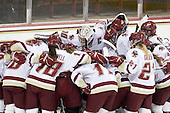 The Eagles huddle before the start of the game. - The visiting Boston University Terriers defeated the Boston College Eagles 1-0 on Sunday, November 21, 2010, at Conte Forum in Chestnut Hill, Massachusetts.