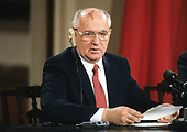 President Mikhail Gorbachev of the Union of Soviet Socialist Republics makes remarks during a joint press conference with United States President George H.W. Bush, at the conclusion of their summit in the East Room of the White House in Washington, DC on Sunday, June 3, 1990.  <br /> Credit: Ron Sachs / CNP