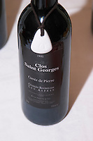 Cuvee de Pierre. Clos St Georges. Cotes du Roussillon Les Aspres. Roussillon. France. Europe. Bottle.