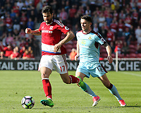 Middlesbrough's Antonio Barragan skips away from Burnley's Robbie Brady<br /> <br /> Photographer David Shipman/CameraSport<br /> <br /> The Premier League - Middlesbrough v Burnley - Saturday 8th April 2017 - Riverside Stadium - Middlesbrough<br /> <br /> World Copyright &copy; 2017 CameraSport. All rights reserved. 43 Linden Ave. Countesthorpe. Leicester. England. LE8 5PG - Tel: +44 (0) 116 277 4147 - admin@camerasport.com - www.camerasport.com