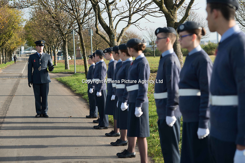 Pictured: Young cadets at the service Friday 11 November 2016<br /> Re: Remembrance Day service at the Cenotaph in Swansea, south Wales, UK.