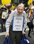 Possibly the eldest elder in the marchat 93 1/2 years old, Dr. Gerson Lesser, of NYC, marching in the People's Climate March in New York City on Sunday, September 21, 2014. Photo by Jim Peppler. Copyright Jim Peppler 2014. All rights reserved.