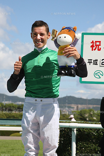 Djordje Perovic,<br /> SEPTEMBER 13, 2014 - Horse Racing :<br /> Jockey Djordje Perovic celebrates his first JRA race win after winning the Hanshin 2R at Hanshin Racecourse in Hyogo, Japan. (Photo by Eiichi Yamane/AFLO)
