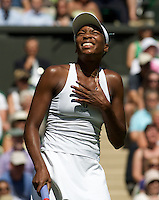 Venus Williams (USA) against Stefanie Voegele (SUI) in the first round of the ladies singles. Williams beat Voegele 6-3 6-2..Tennis - Wimbledon - Day 2 - Tues 23rd June 2009 - All England Lawn Tennis Club  - Wimbledon - London - United Kingdom..Frey Images, Barry House, 20-22 Worple Road, London, SW19 4DH.Tel - +44 20 8947 0100.Cell - +44 7843 383 012