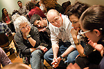Veteran Martin Allback (C) and other participants listen during the Veteran-Civilian Dialogue at Intersections International on February 4, 2011 in New York City.  Also in this framer are Lois Mathias (L), Scott Thompson (2L), Director of Social Dialogue and Training Initiatives at Intersections International.  (PHOTOGRAPH BY MICHAEL NAGLE)