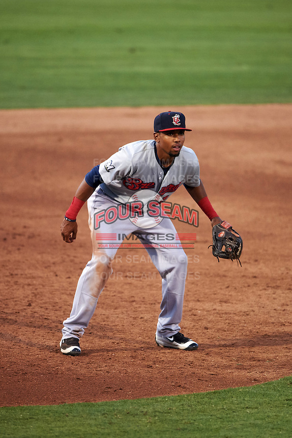 Brevard County Manatees third baseman Jose Cuas (1) during a game against the Fort Myers Miracle on April 13, 2016 at Hammond Stadium in Fort Myers, Florida.  Fort Myers defeated Brevard County 3-0.  (Mike Janes/Four Seam Images)